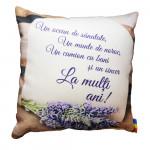 Perna decorativa cu mesaj, Cute Gifts, La multi ani, patrata, multicolor