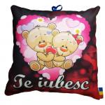 """Perna decorativa cu mesaj, patrata, model Ursuleti, """"Te Iubesc"""", multicolor"""