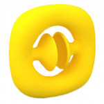 Jucarie senzoriala Snap suction cup popper noise, Oktane®, 6x6x1.2 cm, silicon, Galben